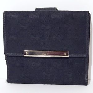 Gucci black monogram leather canvas snap wallet